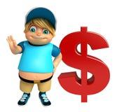 Dzieciak chłopiec z dolarowym znakiem Obrazy Stock