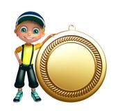 Dzieciak chłopiec z medalem Obrazy Stock