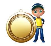 Dzieciak chłopiec z medalem Zdjęcia Stock