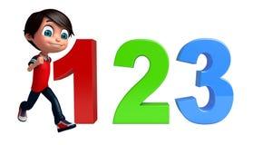 Dzieciak chłopiec z 123 znakiem Obrazy Royalty Free