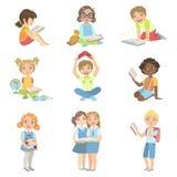 Dzieciak Czytelniczych książek ikony set royalty ilustracja