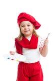 Dzieciak dziewczyna w artysty kostiumu odizolowywającym zdjęcie royalty free