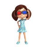 Dzieciak dziewczyna z 3D gogle Zdjęcia Royalty Free