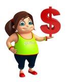 Dzieciak dziewczyna z dolarowym znakiem Obrazy Royalty Free