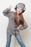 Dzieciak i hełmofony obraz royalty free