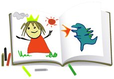 dzieciak jest rysunek Obrazy Royalty Free