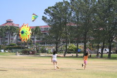 dzieciak latające kanie Zdjęcie Royalty Free