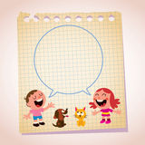 Dzieciak mowy bąbla nutowego papieru kreskówki ilustracja Fotografia Royalty Free