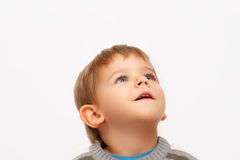 dzieciak patrzeć w górę Zdjęcia Royalty Free