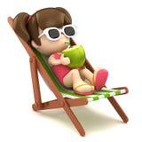 Dzieciak pije kokosowego mleko Obrazy Royalty Free