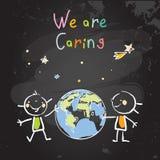 Dzieciak planety opieka, ziemski dzień ilustracja wektor