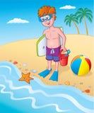 Dzieciak pozycja Seashore Zdjęcie Stock