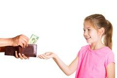 Dzieciak pyta dla pieniądze zdjęcia royalty free