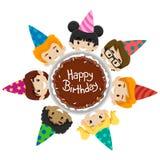 Dzieciak różnorodność wokoło Urodzinowego torta royalty ilustracja