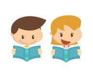 Dzieciak w akci Czytelnicze książki Obrazy Stock