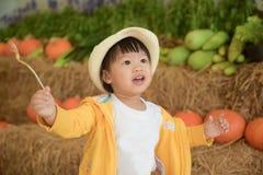 Dzieciak w gospodarstwie rolnym Zdjęcie Stock