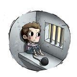 Dzieciak w więzieniu royalty ilustracja