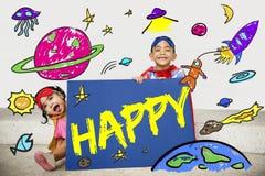 Dzieciak wyobraźni Astronautycznej rakiety Radosny Graficzny pojęcie obraz royalty free