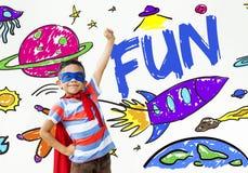 Dzieciak wyobraźni Astronautycznej rakiety Radosny Graficzny pojęcie zdjęcia stock