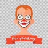 Dzieciak z błazen twarzy obrazu wektoru ilustracjami Obraz Stock