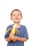 dzieciak z bananami obrazy stock