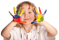 Dzieciak z farbą Zdjęcia Royalty Free