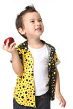 Dzieciak z jabłkiem Obrazy Royalty Free
