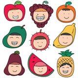 Dzieciak z owocowym kapeluszem ilustracja wektor