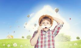 Dzieciak z wąsy Zdjęcia Royalty Free