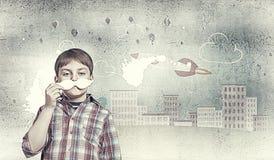 Dzieciak z wąsy Obrazy Stock