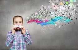 Dzieciak z wąsy Zdjęcia Stock
