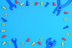 Dzieciak zabawek Odgórny widok Kolorowi zabawek narzędzia na Błękitnym tle Obraz Royalty Free