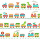 Dzieciak zabawki pociągu wzór Dziecko linia kolejowa bawi się, dziecko pociągów transport na poręczach i dzieciaka kolejowy bezsz ilustracja wektor