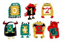Dzieciaka abecadło z ślicznymi kolorowymi potworami lub insektami Śmieszny fi ilustracja wektor