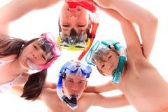 dzieciaka cztery snorkels Zdjęcia Royalty Free