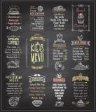 Dzieciaka menu chalkboard projekty ustawiający Obraz Royalty Free