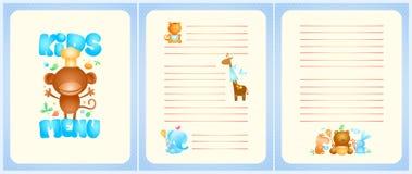 Dzieciaka menu listy projekt z stroną tytułową i stronami dla naczyń Obrazy Stock