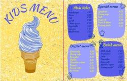 DZIECIAKA menu, WEKTOROWA ilustracja z ręka rysującym lody i doodle jedzenie, Koloru żółtego i błękita kolory ilustracji