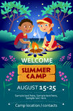 Dzieciaka obozu letniego flier lub plakat Zdjęcie Royalty Free