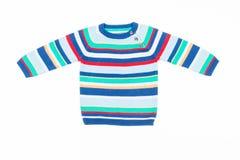 Dzieciaka pasiasty pulower odizolowywający na bielu Zdjęcie Royalty Free