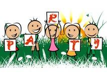 Dzieciaka przyjęcie Reprezentuje młodzieniec radość I świętowania ilustracji