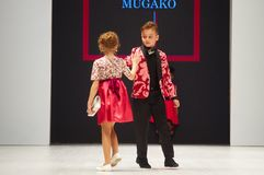 Dzieciaka ` s mody dzień podczas Białoruś mody tygodnia na Październiku 29, 2017 w Minsk, Białoruś Zdjęcia Stock