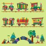 Dzieciaka wektoru pociągu linii kolejowej dziecka kreskówki zabawkarski lub kolejowy gemowy lokomotoryczny obdarzony na wszystkie royalty ilustracja