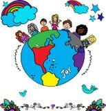 Dzieciaka wielo- etniczny wektor dookoła świata ilustracji