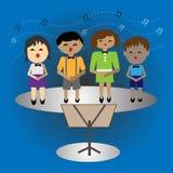 Dzieciaki śpiewa w przyjęciu, dzieciaki wykonuje na scenie w śpiewackiej rywalizaci Obraz Stock