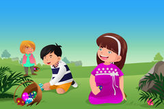 Dzieciaki świętuje wielkanoc Obrazy Stock