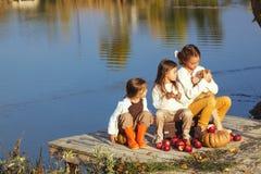 Dzieciaki bawić się blisko jeziora w jesieni Fotografia Stock