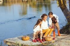 Dzieciaki bawić się blisko jeziora w jesieni Zdjęcie Royalty Free