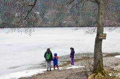 Dzieciaki bawić się blisko zamarzniętego jeziora Zdjęcie Royalty Free