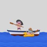 Dzieciaki bawić się na łodzi ilustracji